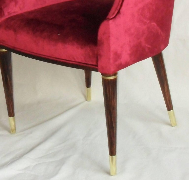 Set of 6 Red Velvet Armchairs, Midcentury Style, Luxury Details, Italia In Excellent Condition For Sale In Tavarnelle val di Pesa, Florence