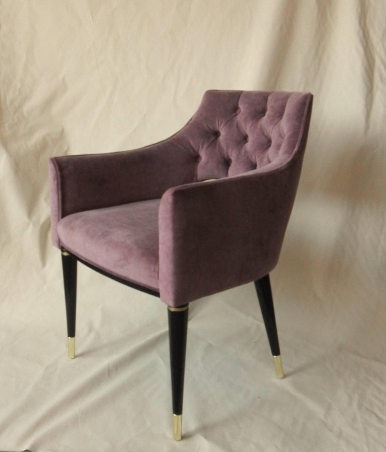 Listed again for the repeating request on the first set that was sold in January. Still on my top views even if sold.  Superb midcentury chair. Set of ten made with beautiful deep English rose velvet.   Restauration grade finishing and