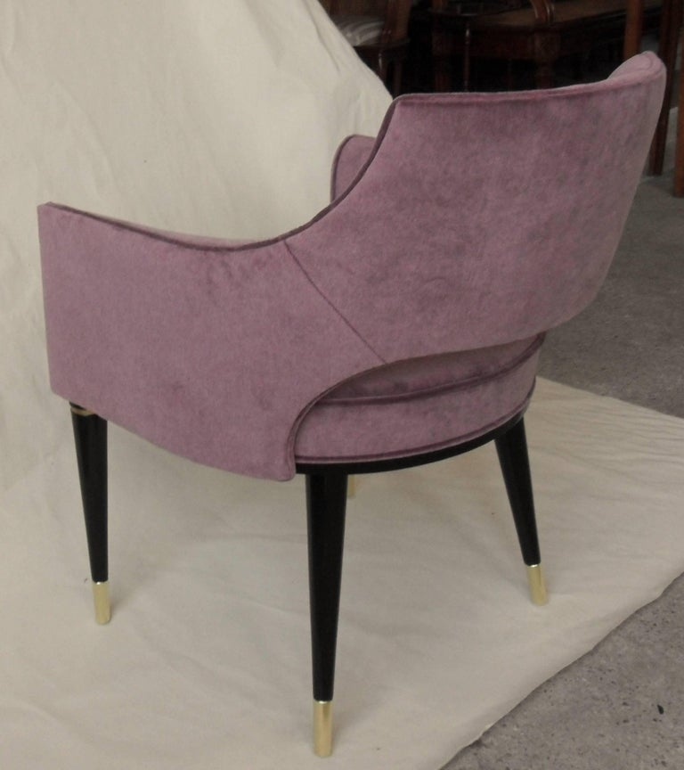 Italian Set, Ten Dining Armchair, Tufted Cotton Velvet, Midcentury Style, Luxury Details