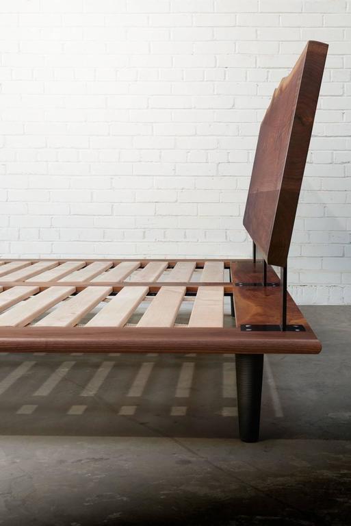 Handcrafted Walnut Slab Platform Bed King Sized For Sale