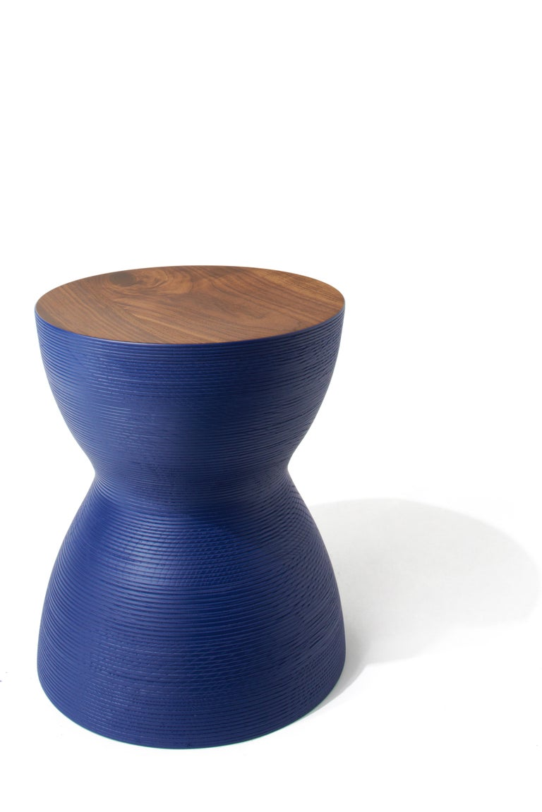 American YoYo Stool, Hand-Turned, Hardwood Side Table or Seating, in Black For Sale