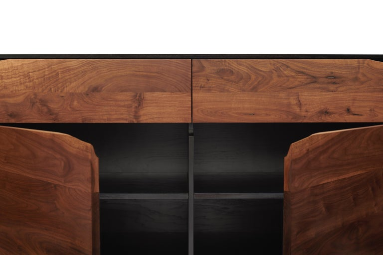 American Handcrafted Rustic Modern Sideboard of Select Walnut and Black Lacquered Ash For Sale