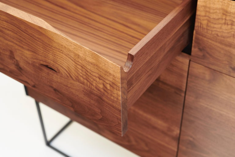 Joinery Handcrafted Rustic Modern Sideboard of Select Walnut and Black Lacquered Ash For Sale