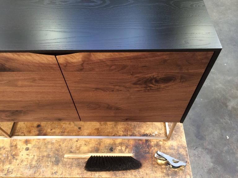 Blackened Rustic Modern Credenza, Handcrafted of American Hardwoods with a Bronze Base For Sale