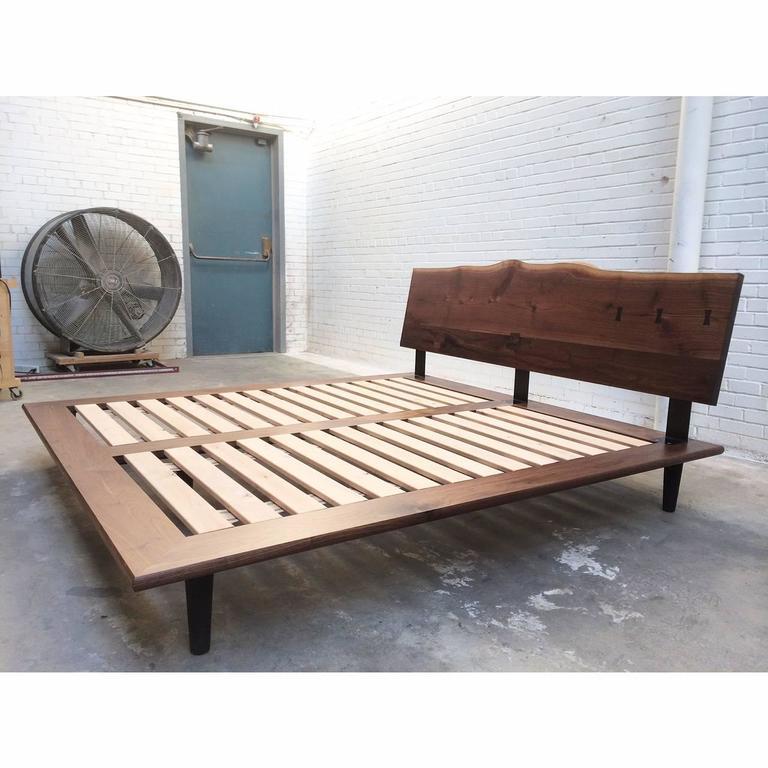 Modern Handcrafted Walnut Slab Platform Bed, King-sized For Sale