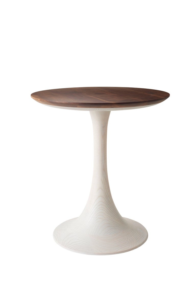 American Turn Up Table Modern Turned Hardwood Occasional Table for Living Room or Bedroom For Sale