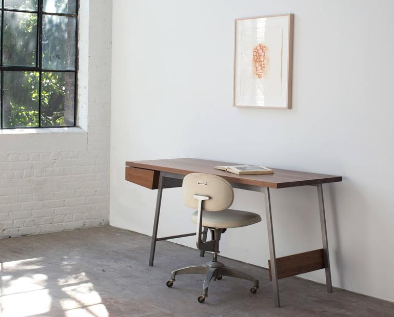 American AD7, Handmade Solid Walnut and Bronze Desk with Pencil Drawer For Sale