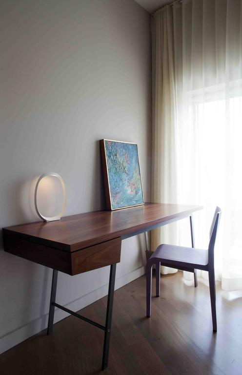 Hand-Crafted AD7, Handmade Solid Walnut and Bronze Desk with Pencil Drawer For Sale