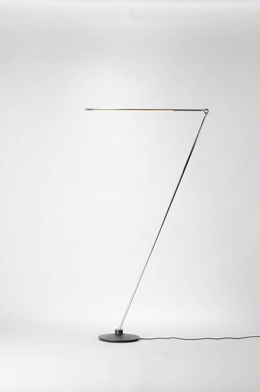 Thin Model F Contemporary 1/2 Brass Floor Led Lamp with Cast Iron Base 3