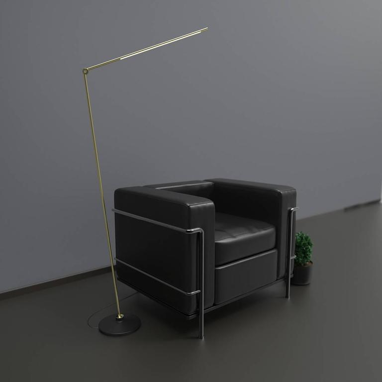 Thin Model F Contemporary 1/2 Brass Floor Led Lamp with Cast Iron Base In Excellent Condition For Sale In Brooklyn, NY
