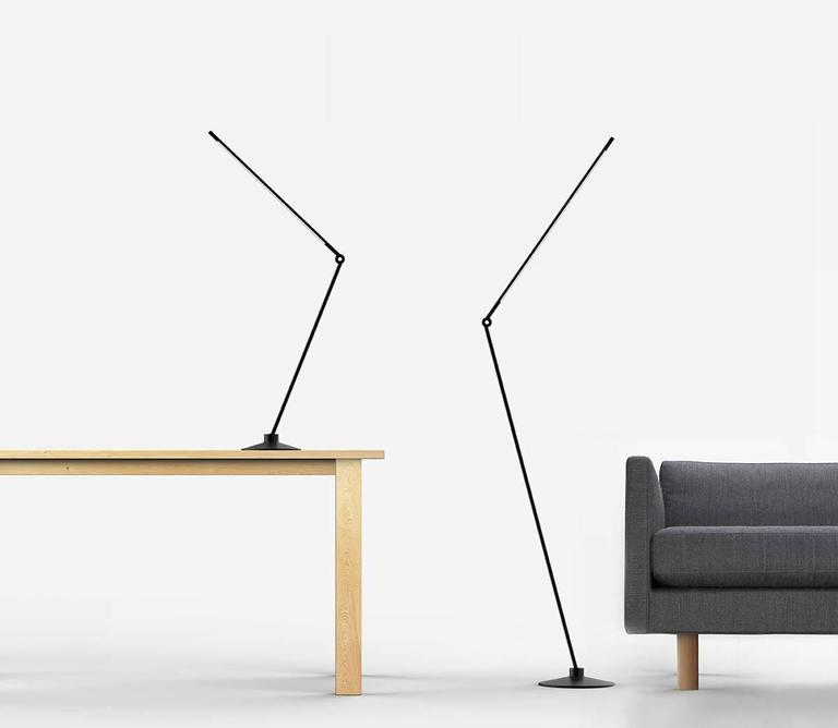Thin Model F Contemporary 1/2 Brass Floor Led Lamp with Cast Iron Base For Sale 5