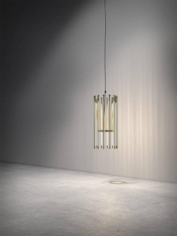 Contemporary Brass Chandelier with 1/2 Inch Thin Adjustable Led Arms 3
