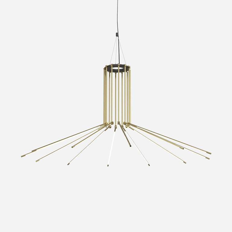 Contemporary Brass Chandelier with 1/2 Inch Thin Adjustable Led Arms 6
