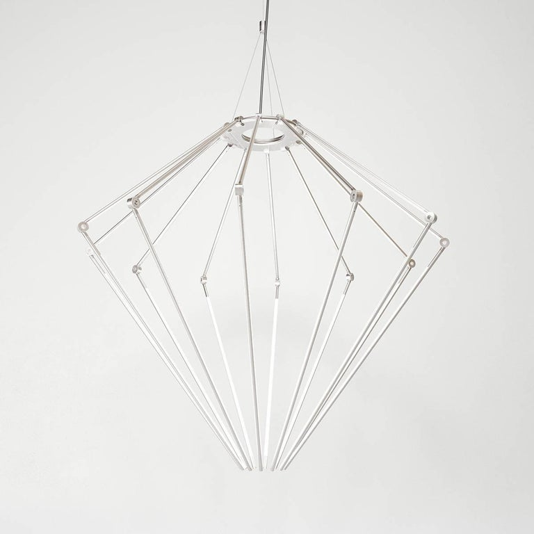 American Contemporary Brass Chandelier Model T with 1/2 Inch Thin Adjustable Led Arms For Sale