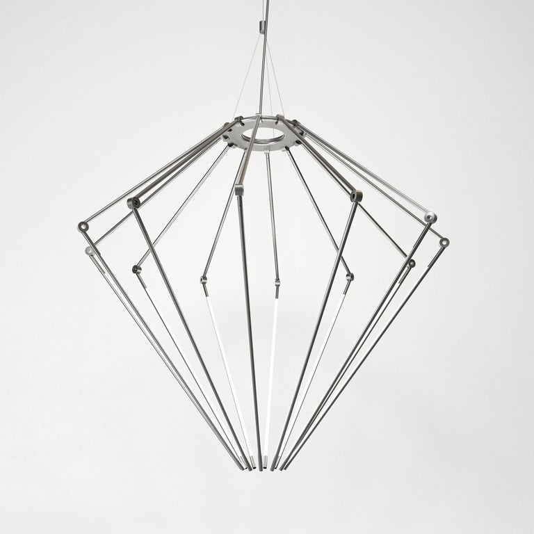 Modern Contemporary Brass Chandelier Model T with 1/2 Inch Thin Adjustable Led Arms For Sale