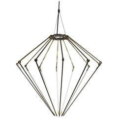 Solid Brass Contemporary Small Chandelier with Thin Adjustable LED Arms