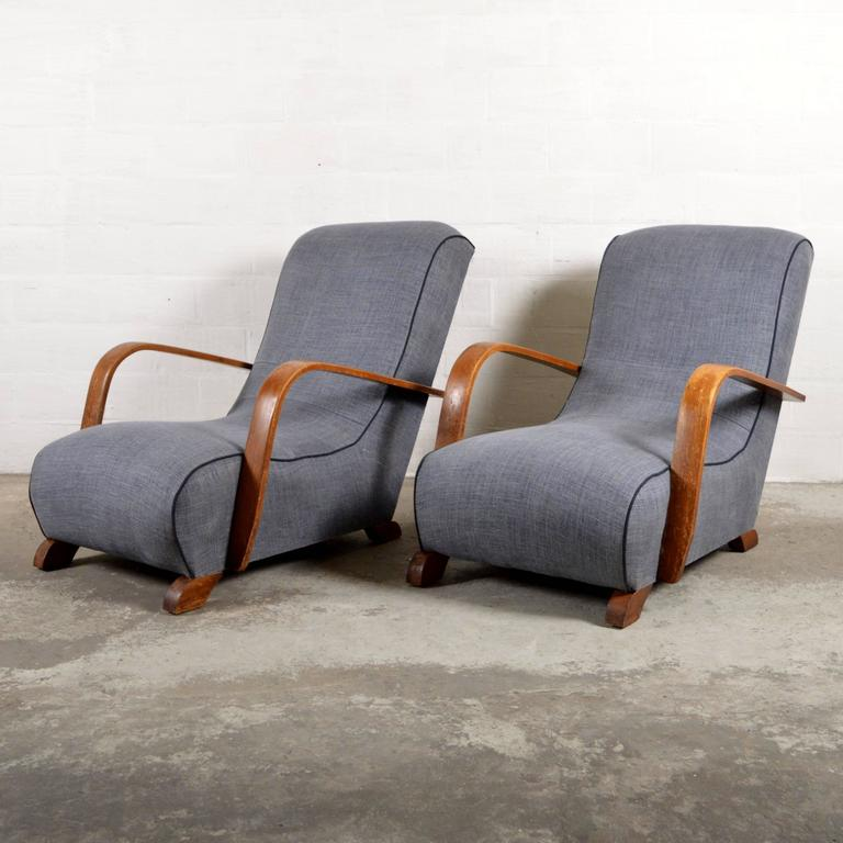 Two fortable Linen Lounge Chairs at 1stdibs