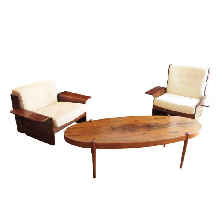 Midcentury Rosewood Elliptic Coffee Table 7