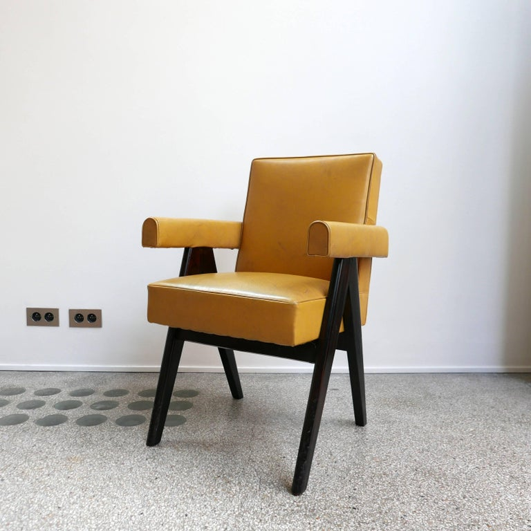 Leather Pierre Jeanneret, PJ-SI-30-A, Committee Armchair, Chandigarh, circa 1953 For Sale