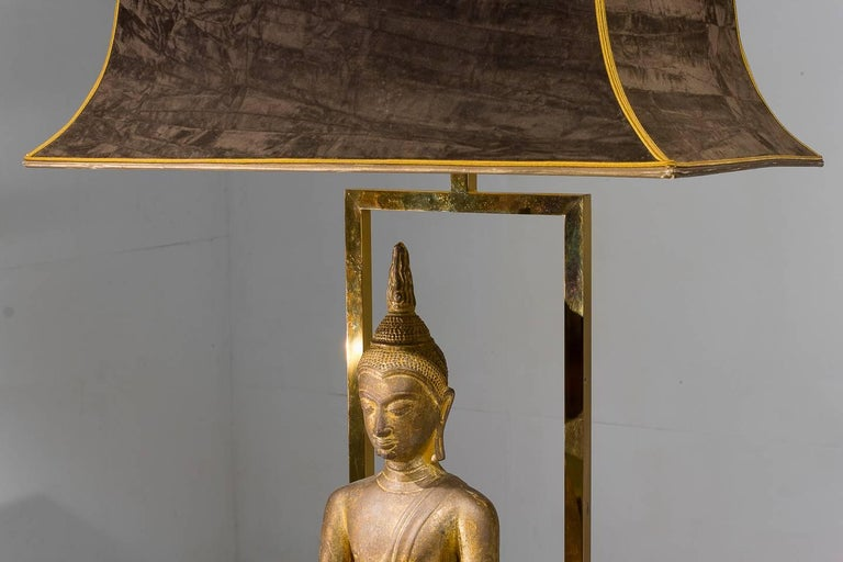 Gilt 1960s Buddha Lamp For Sale