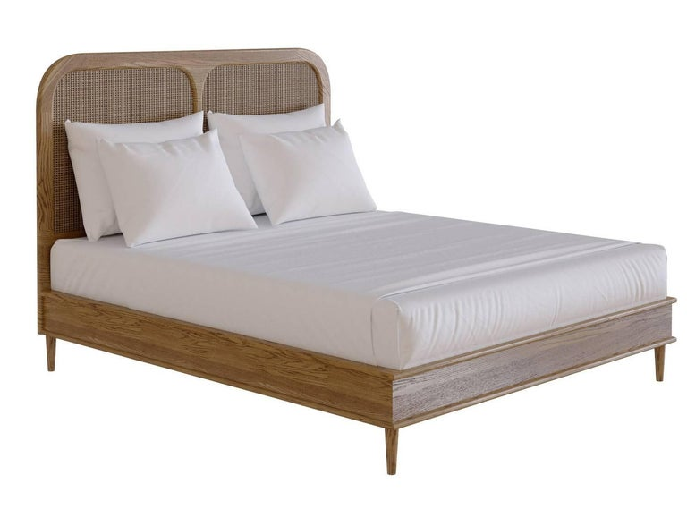 Bed for Hotel Sanders by Lind + Almond in Cognac and Rattan, Euro King For Sale 2