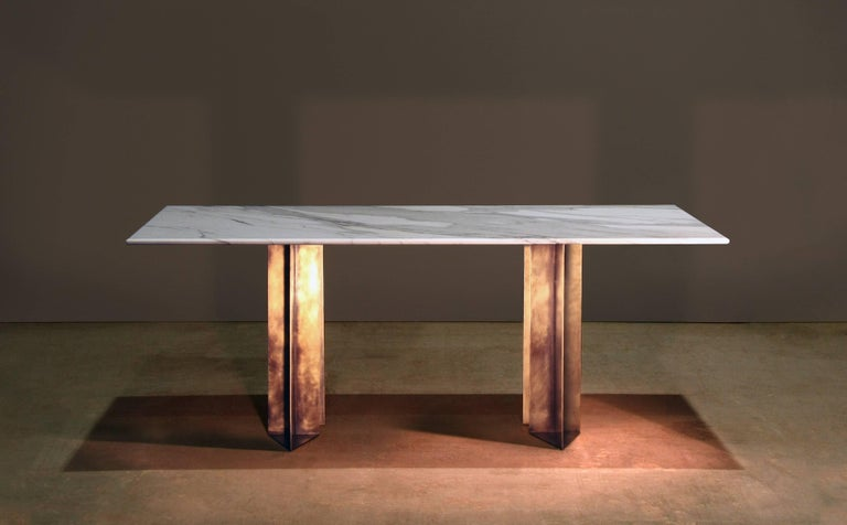 Modern Metropolis Marble and Brass Dining Table by Lind and Almond for Novocastrian For Sale