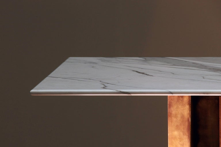 British Metropolis Marble and Brass Dining Table by Lind and Almond for Novocastrian For Sale