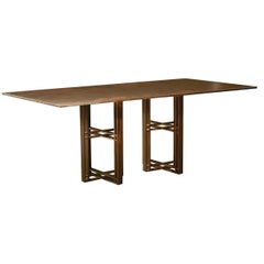 Bronze Patinated Steel Deco Dining Table by Novocastrian