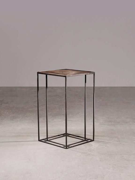British Loft Binate Minimal Art Deco Occasional Table in Blackened Steel and Brass For Sale