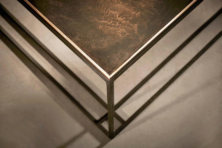 Enameled Loft Binate Minimal Art Deco Occasional Table in Blackened Steel and Brass For Sale