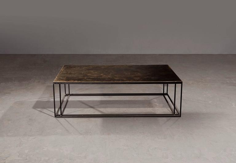 British Brass Binate Art Deco Minimal Metal Coffee Table in Steel and Brass For Sale