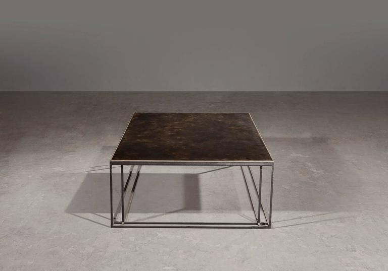 Polished Brass Binate Art Deco Minimal Metal Coffee Table in Steel and Brass For Sale
