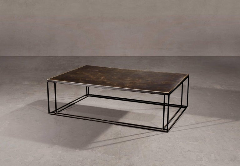 Coffee table in blackened steel and patinated brass. Brushed brass trim. Handcrafted in North East, England.  Measures: 120cm (length) x 80cm (width) x 35cm (height).  Custom sizes available.  Made to order in 12 weeks. Price excludes VAT.