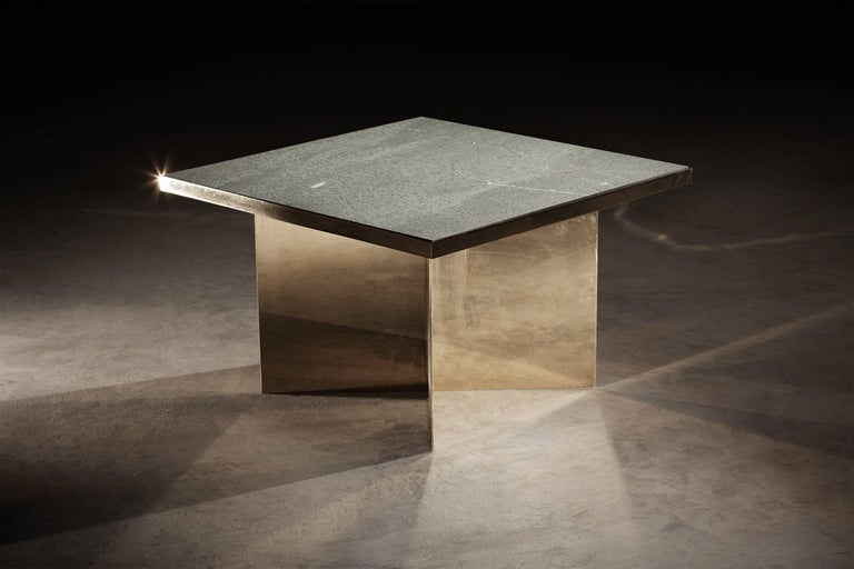 Minimalist Verdi Deco Coffee Table in Polished Brass and Green Slate by Novocastrian For Sale