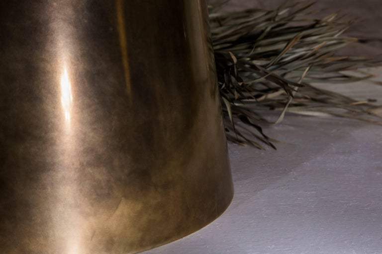 Stanhope Coffee Table in Hand Patinated Brass and Rare British Marble In Excellent Condition For Sale In Washington, GB