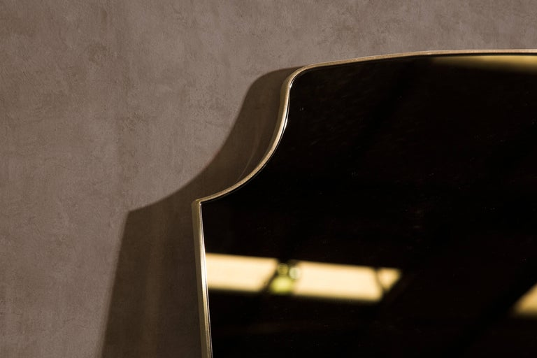 Minimalist Aegis Contemporary Deco Minimal Brass Mirror with Bronzed Glass For Sale