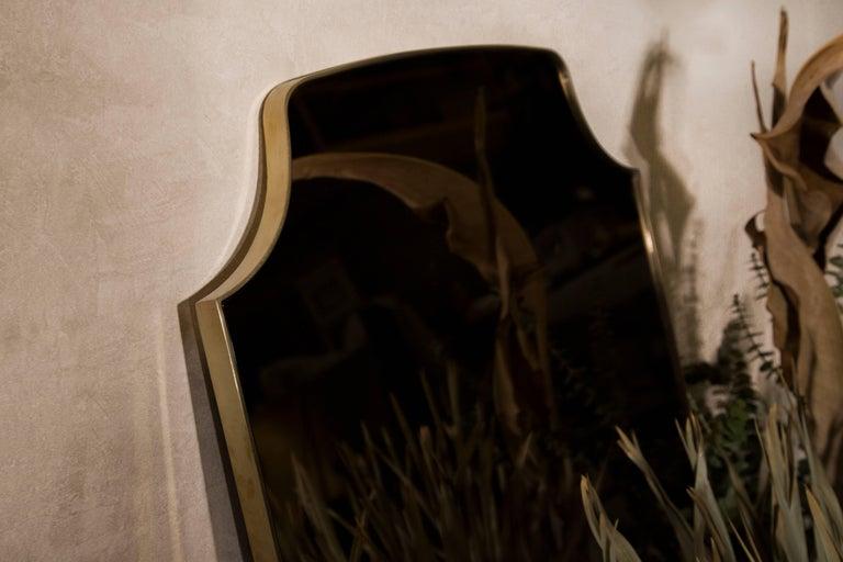British Aegis Contemporary Deco Minimal Brass Mirror with Bronzed Glass For Sale
