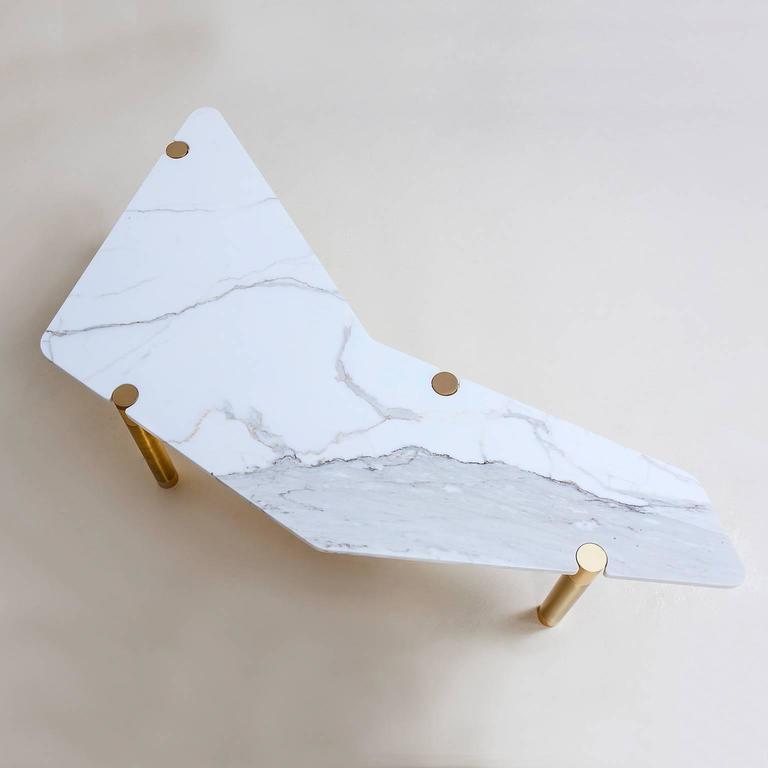 Modern Nova Boomerang Coffee Table with Marble Top by AVRAM RUSU STUDIO For Sale