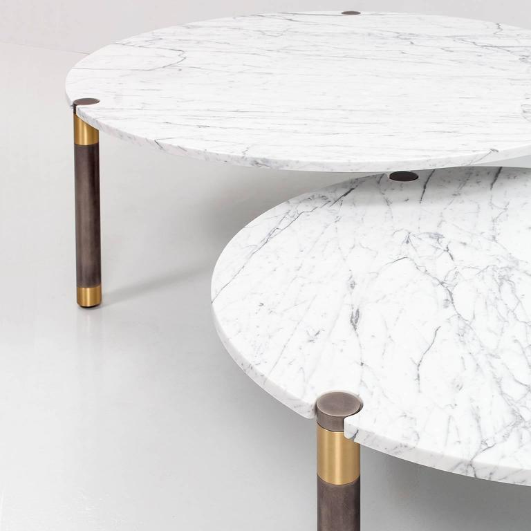 Brushed Nova Round Marble Coffee Table by AVRAM RUSU STUDIO For Sale