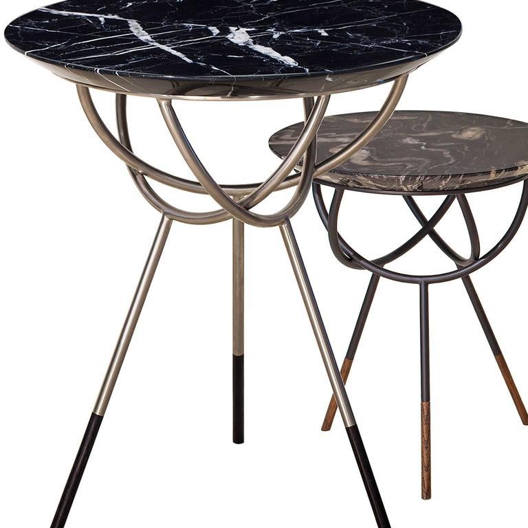 Modern Atlas Satin Nickel End or Side Table by AVRAM RUSU STUDIO For Sale
