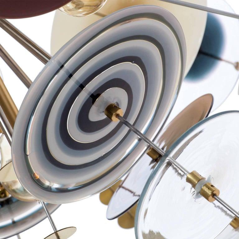 American Confetti Glass Topaz, Black and White Chandelier by AVRAM RUSU STUDIO For Sale