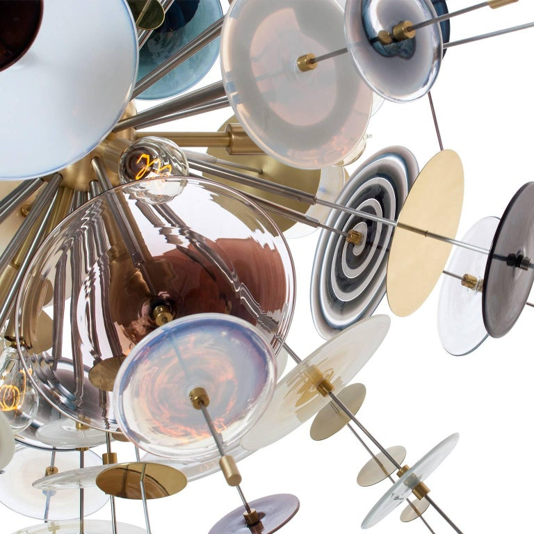 Modern Confetti Glass Topaz, Black and White Chandelier by AVRAM RUSU STUDIO For Sale