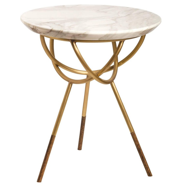 Atlas Brushed Brass Side Or End Table By AVRAM RUSU STUDIO For Sale - Brushed brass side table