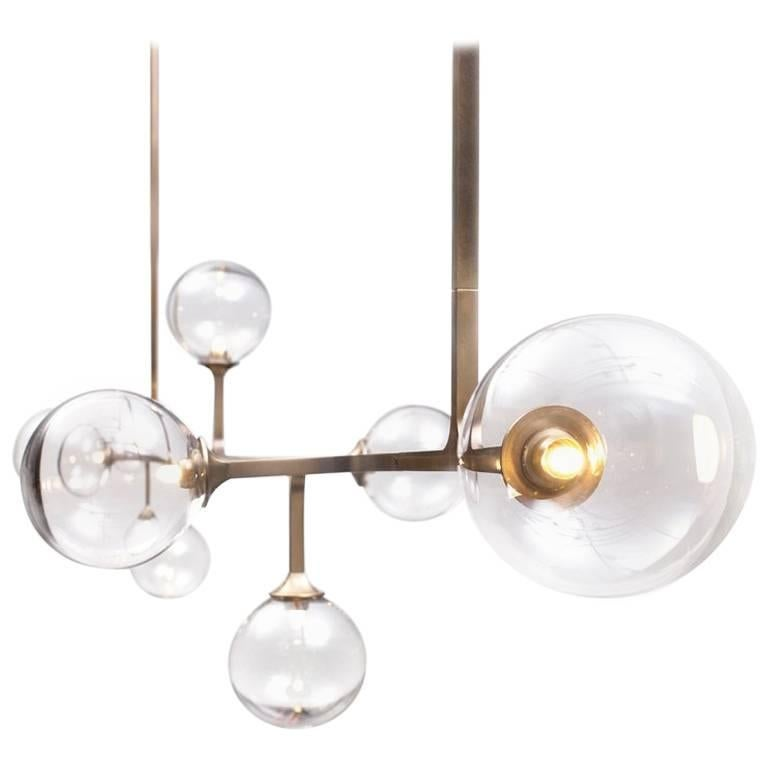 Helix Horizontal Six-Tier Pendant with Brass and Handblown Glass, Customizable