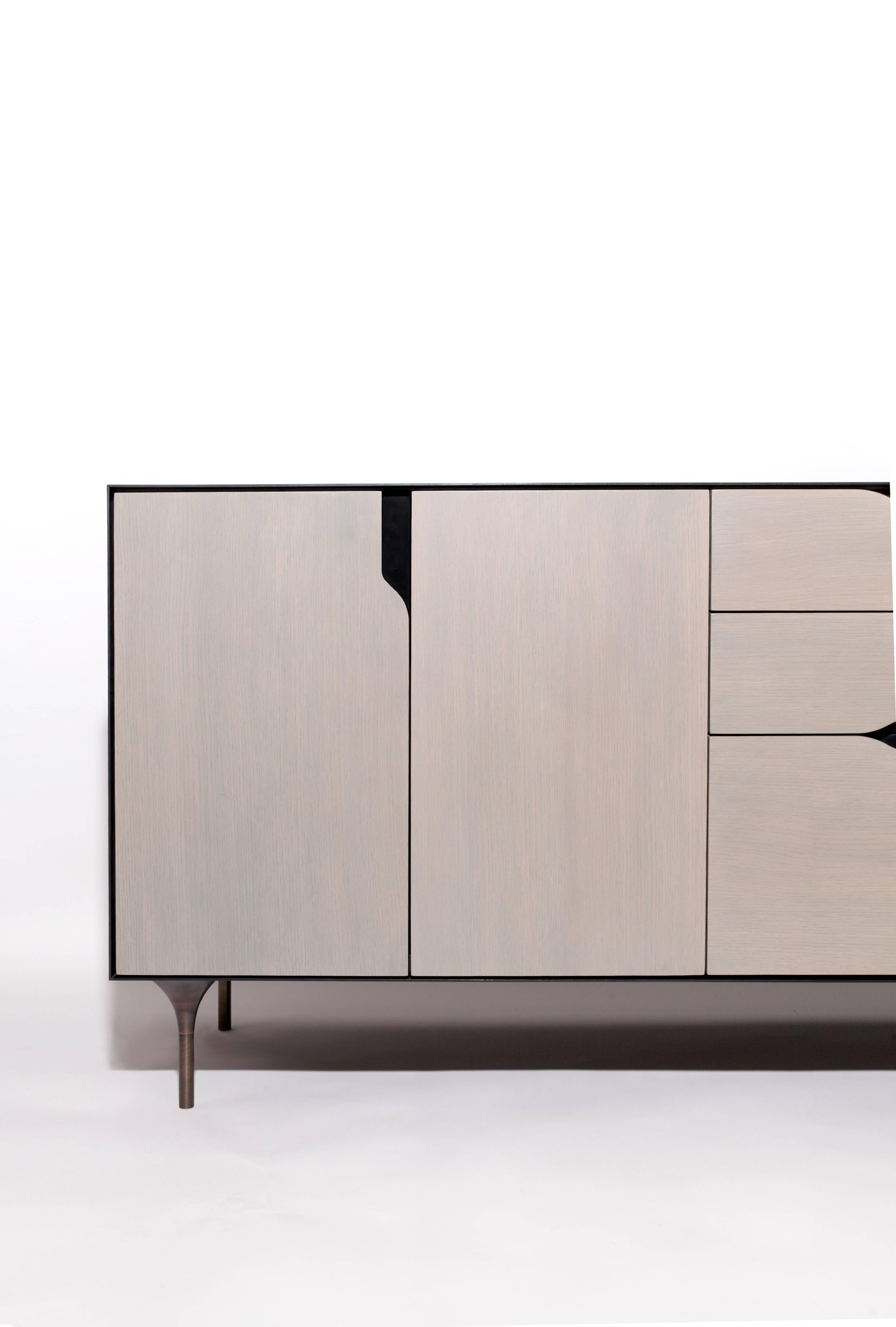 Titan Credenza In White Oak Or Walnut And Blackened Steel