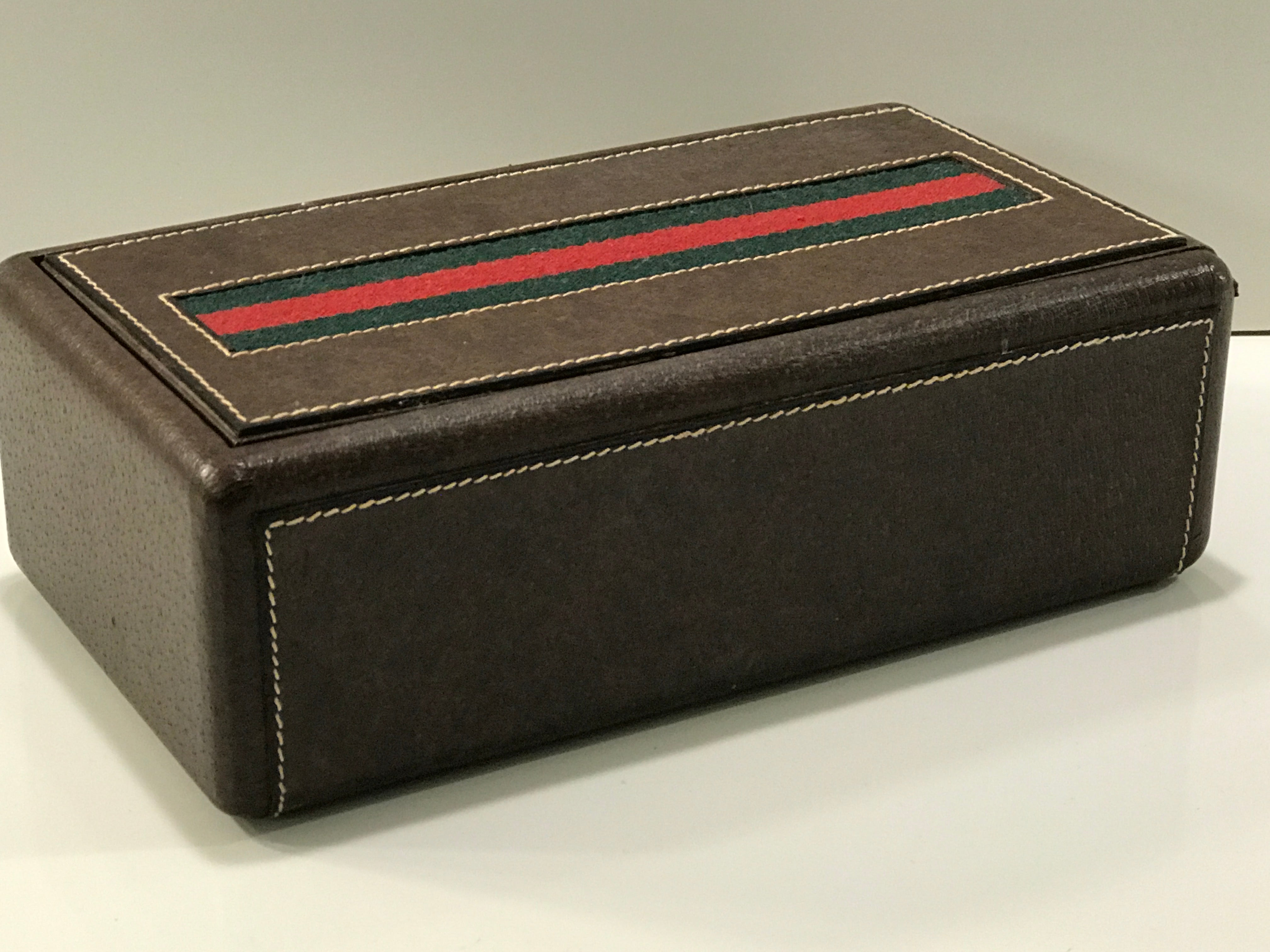 4aec1d6e7894 Gucci Leather Mens Jewelry or Watch Box with Divided Interior at 1stdibs