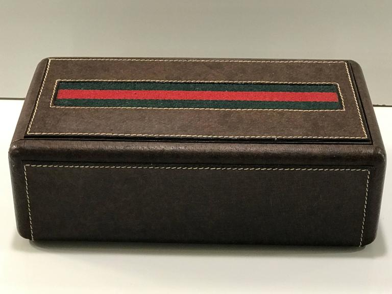 gucci leather mens jewelry or box with divided