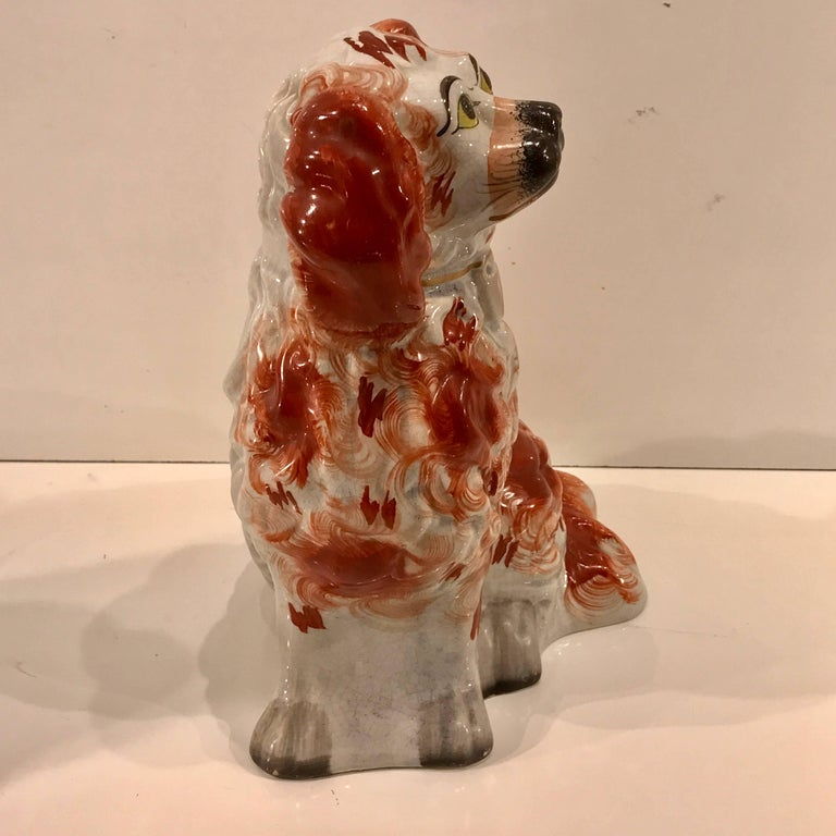 Hand-Painted Great Pair of Chunky Staffordshire Seated Spaniels  For Sale
