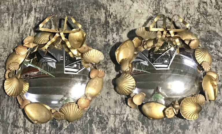 Pair of French Brass Shell Motif Convex Mirrors For Sale 2