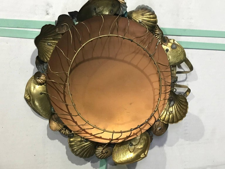 Pair of French Brass Shell Motif Convex Mirrors For Sale 3